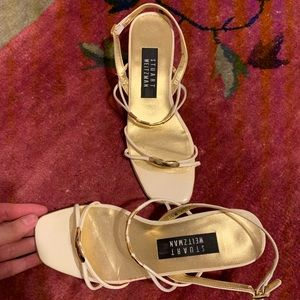 Vintage Stuart Weitzman white and gold sandals